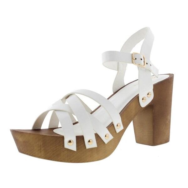 Qupid Womens Beekler Platform Sandals Faux Leather Heels