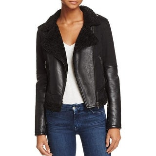 Blank NYC Womens Motorcycle Jacket Faux Leather Faux Shearling