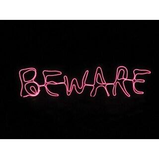 Sylvania V38702-Battery Operated Beware Window Halloween Decor Lighted, Red