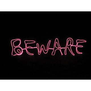 Sylvania V38702-Battery Operated Beware Window Halloween Decor Lighted, Red