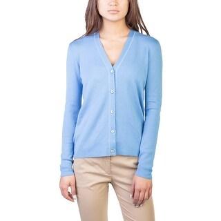 Prada Women's Cashmere Silk Blend Cardigan Blue - 8