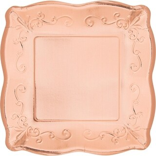 Pack of 48 Rose Gold Embossed Square Disposable Paper Party Luncheon Plates 10.6""