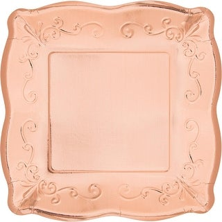 Pack of 48 Rose Gold Embossed Square Disposable Paper Party Luncheon Plates 7.2""