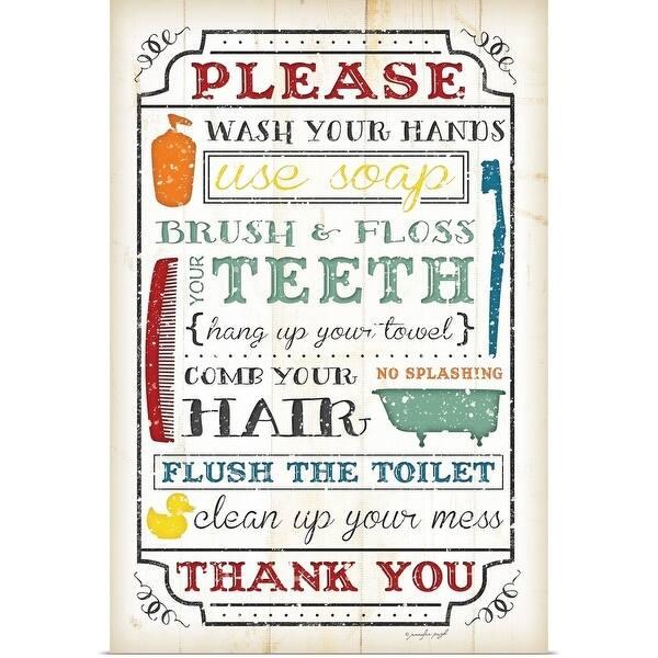 Shop Jennifer Pugh Poster Print entitled Bathroom Rules