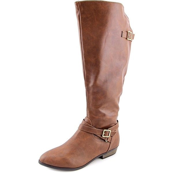 Material Girl Capri Wide Calf Women Round Toe Faux Leather Brown Knee High Boot