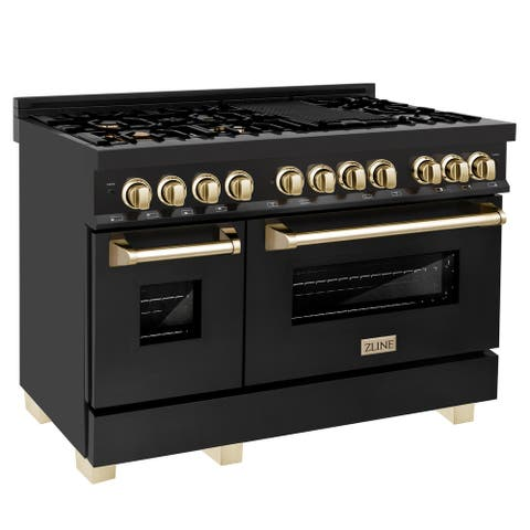 """ZLINE Autograph Edition 48"""" Dual Fuel Range in Black Stainless Steel with Accents"""