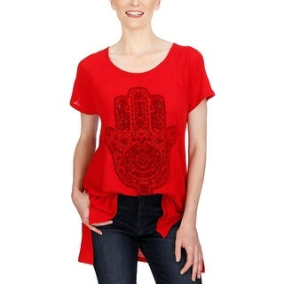 Lucky Brand Womens Casual Top Linen Graphic