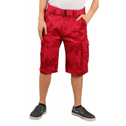 MO7 Young Men's Tonal Foilage Belted Cargo Short