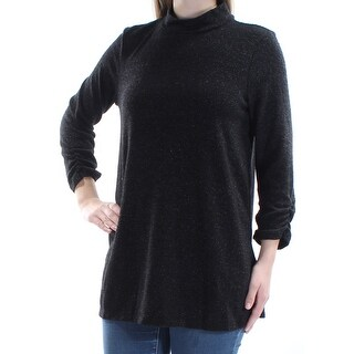 Womens Black 3/4 Sleeve Turtle Neck Casual Top Size M
