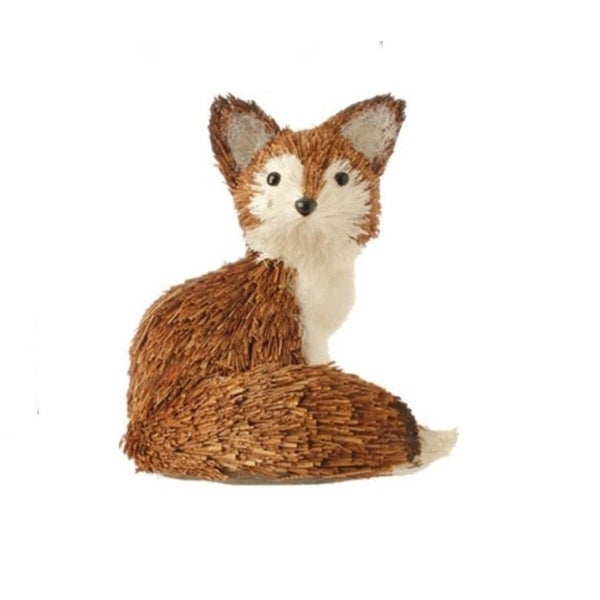 "5.5"" Snowy Time Dried Grass Sitting Brown Fox Christmas Ornament"