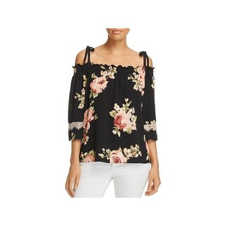 Status by Chenault Womens Casual Top Floral Printed Cold Shoulder
