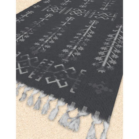 NAHLI CHARCOAL Beach Blanket with Tassels By Kavka Designs - 38 x 80