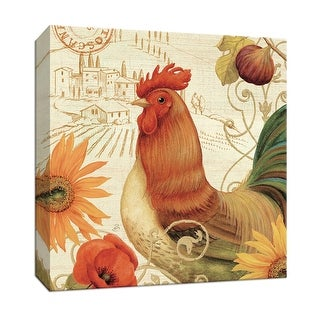 """PTM Images 9-152895  PTM Canvas Collection 12"""" x 12"""" - """"Mattina Toscana II"""" Giclee Roosters Art Print on Canvas"""