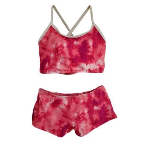 Pink Criss-Cross Back Short 2 Pc Tankini Swimsuit Big Girls
