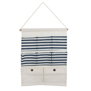 Home Cotton Linen Stripe Pattern Door Closet Hanging Storage Bag Case Blue White