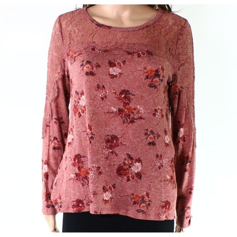 Jolt Pink Womens Size Medium M Floral Lace Long Sleeve Blouse