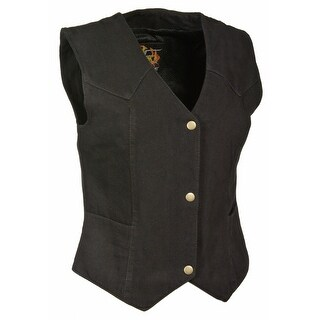 Womens Denim 4 Snap Plain Side Vest