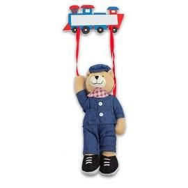 Plush Train Engineer Bear Hanging Name Tag - 16.0 in. x 20.0 in. x 30.0 in.