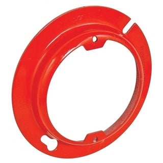 5 Pcs, 4 in. Round Raised Device Ring, Red, 1/2 in. Raised, 2-3/4 in. Center to Center, Zinc Plated Steel Painted Red