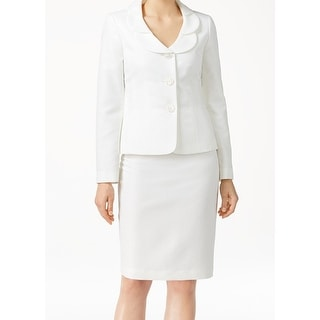 Le Suit NEW White Ivory Petal Collar Women's Size 18 Skirt Suit Set