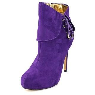 Thalia Sodi Ohlivia Women Round Toe Canvas Purple Ankle Boot