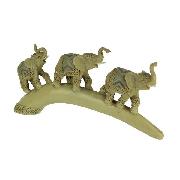 3 Elephants On Tusk Decorative Statue - 6.75 X 14.25 X 2 inches