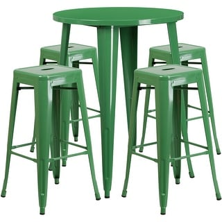 Brimmes Round 30u0027u0027 Green Metal Table Set w/4 Square Seat Backless Stools  sc 1 st  Overstock.com & Metal Outdoor Dining Sets - Shop The Best Patio Furniture Deals ... islam-shia.org