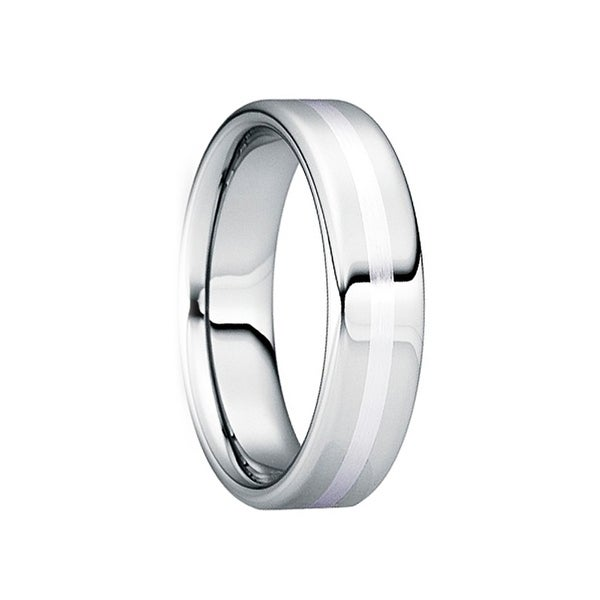 SERVIUS Polished Comfort Fit Tungsten Wedding Ring with Satin Platinum Inlay by Crown Ring