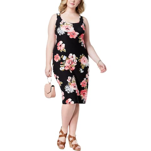 Planet Gold Womens Plus Tank Dress Floral Print Sheath