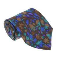 Missoni U1444 Brown/Blue Floral 100% Silk Tie - 60-3