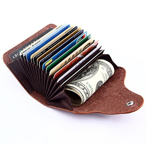 Buy mens wallets online at overstock our best wallets deals genuine leather unisex business card holder wallet bank credit card case id holders reheart Images