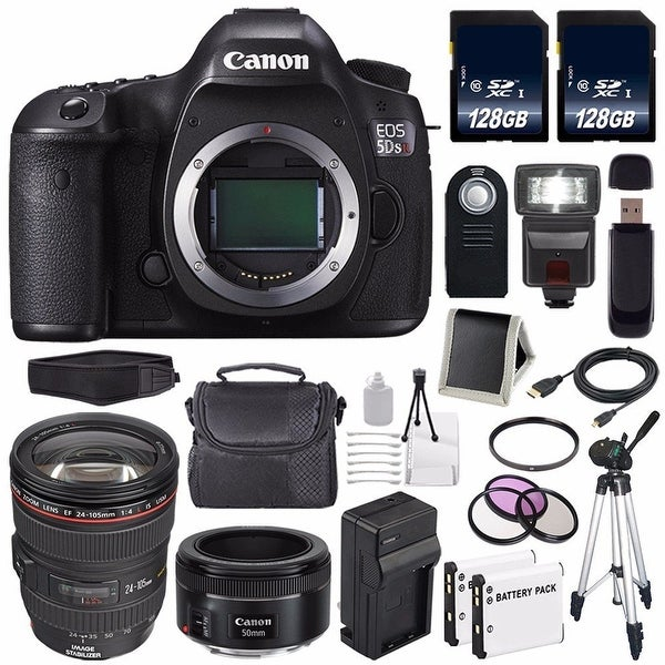 Canon EOS 5DS R DSLR Camera (International Model) 0582C002 + Canon EF 24-105mm f/4L IS USM Lens + 128GB Card Bundle