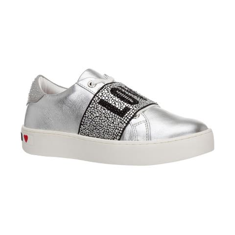 Love Moschino Women's Metallic Leather Crystal Band Sneakers Silver