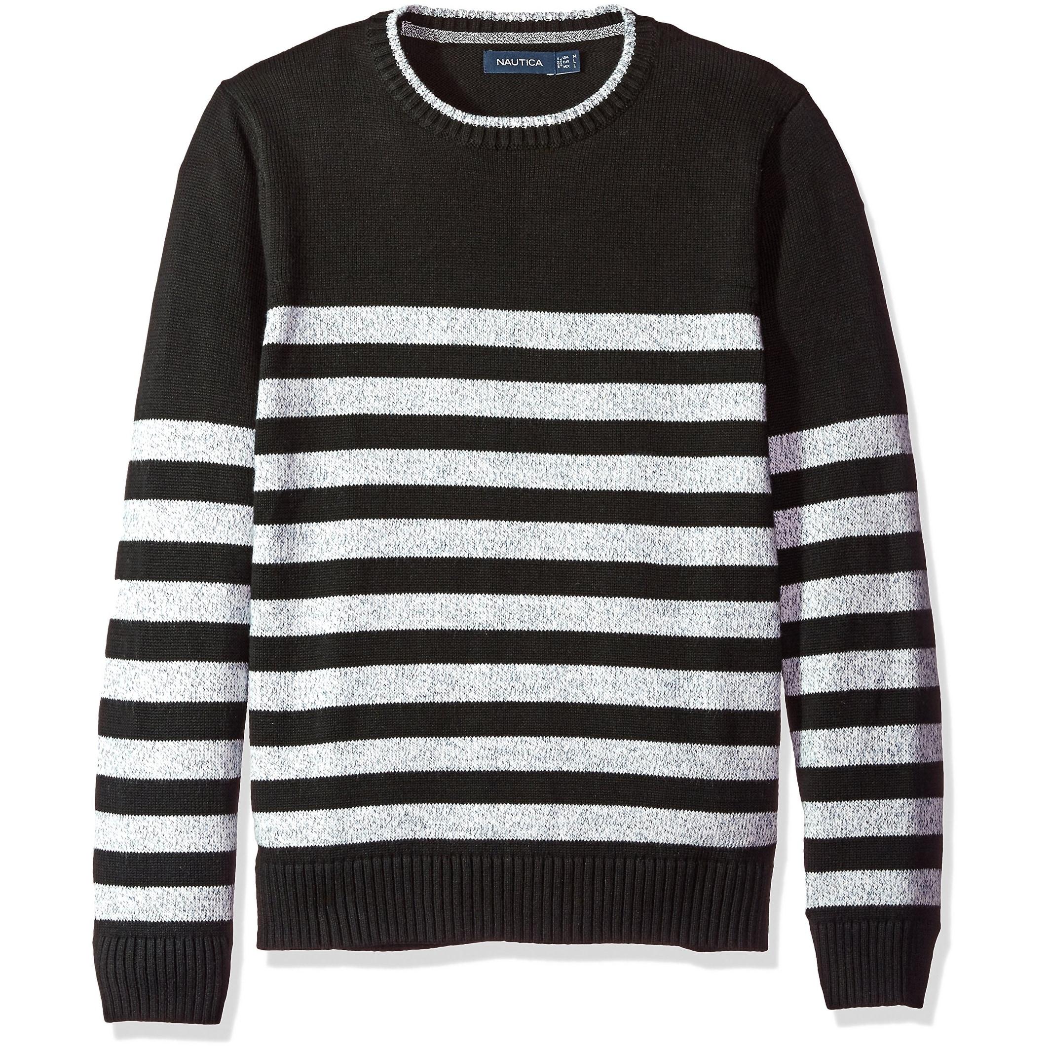NEW NAUTICA Black Sweater Size Medium M Cable Knit V Neck Top Long Sleeve Shirt