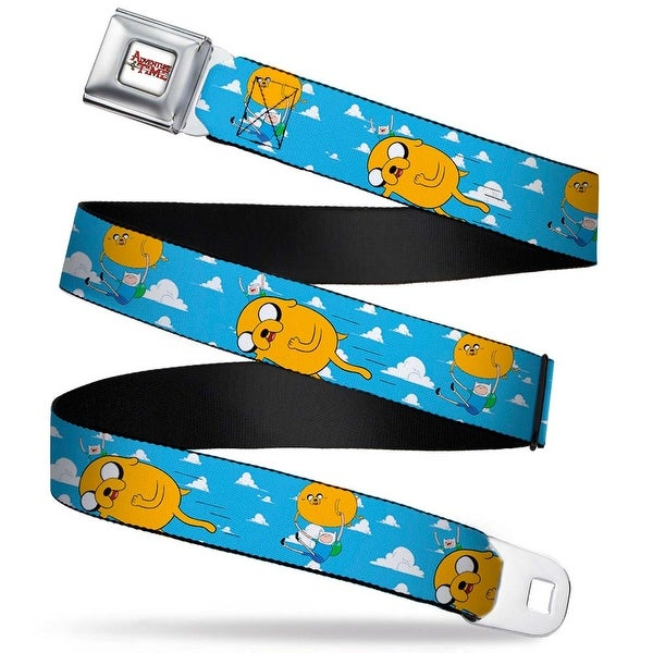 Adventure Time Logo White Full Color Finn & Jake Flying In Clouds Webbing Seatbelt Belt