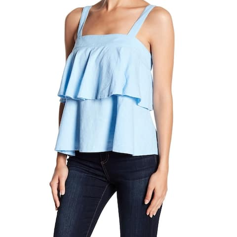 Abound Women Blue Size Large L Ruffle Popover Square Neck Tank Cami Top