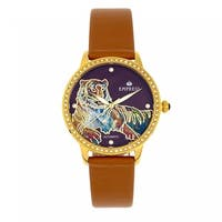 Empress Diana MOP Leather-Band Watch - Camel