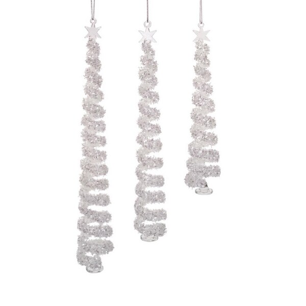 "Pack of 6 Sparkling Silver Spiral Glass Christmas Tree Ornaments 11.5""H"