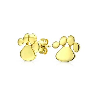 Bling Jewelry Gold Plated .925 Silver Dog Cat Pet Paw Print Stud Earrings
