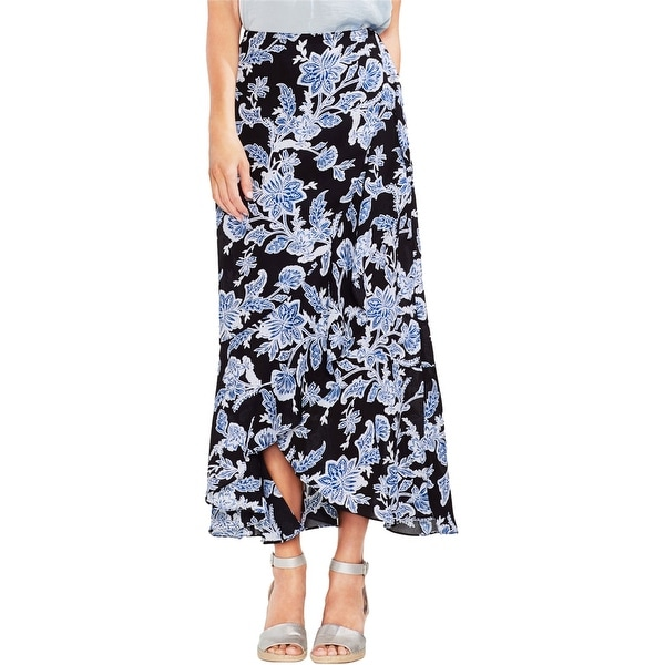 Vince Camuto Womens Ruffled Wrap Skirt, Blue, 2. Opens flyout.