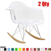 2xhome Modern Rocking Chair Armchair With Arm Colors Natural Wood Rockers Dining (Set of 2)