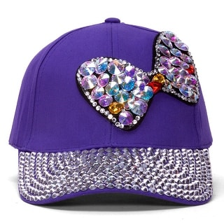 Womens Sequined Baseball Cap w/ Bow
