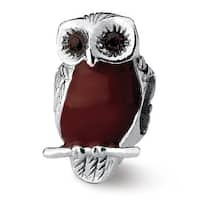 Sterling Silver Reflections Brown Enameled Wise Owl Bead (4mm Diameter Hole)