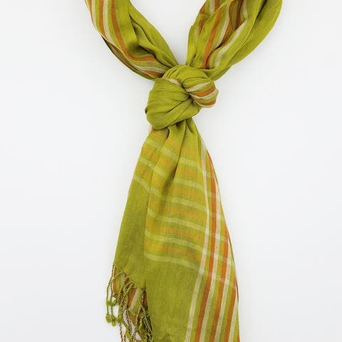 Women Multi Color Lightweight Checkered Plaid Oblong Scarf With Tassels Fall Winter School Warm College Fashion Scarves