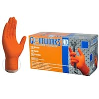 GLOVEWORKS GWON Heavy Duty Orange Diamond Texture Nitrile Industrial Latex Free Disposable Gloves (Box of 100) by AMMEX