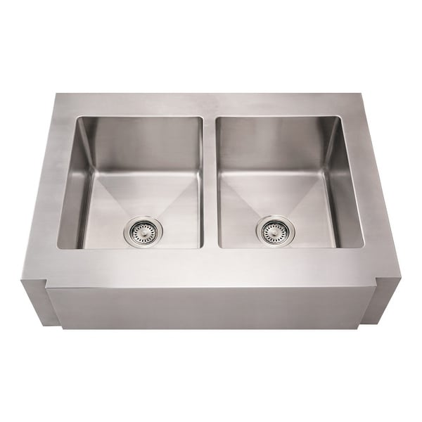 Whitehaus WHNCMAP3621EQ Commercial Double Bowl Undermount Sink with Front-Apron and Squared Front Design