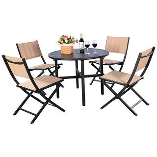 Costway 5 PCS Patio Outdoor Folding Chairs Table Furniture Set Backyard Bistro