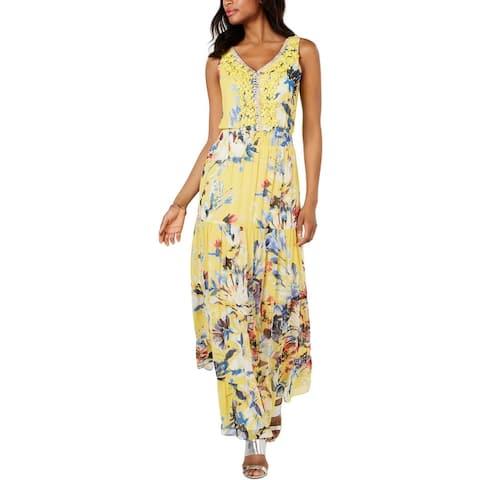 MSK Womens Maxi Dress Floral Evening - Yellow/Blue