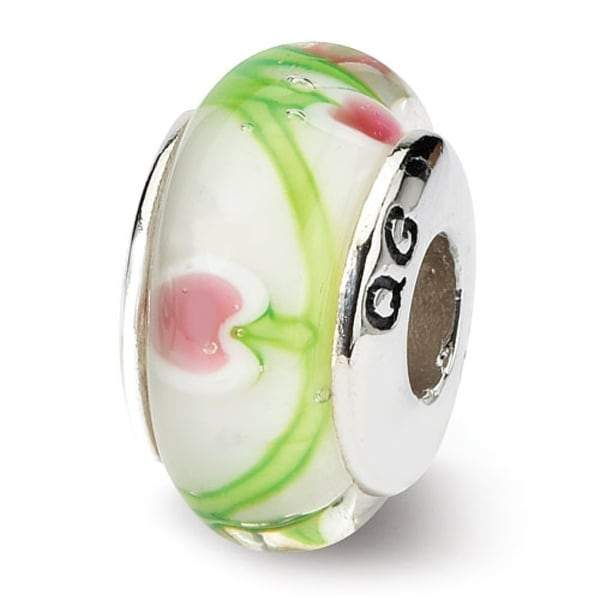 Sterling Silver Reflections White/Pink/Green Hand-blown Glass Bead (4mm Diameter Hole)