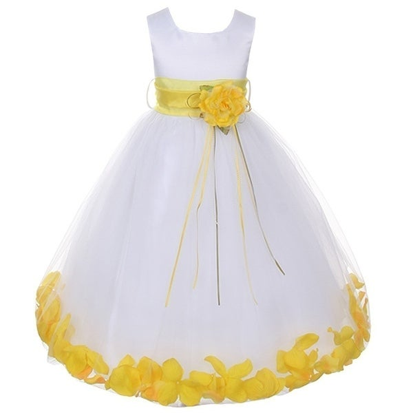 03e1e4ede27 Shop Kids Dream Little Girls White Satin Yellow Floating Petal Flower Girl  Dress 2T-6 - Free Shipping Today - Overstock - 18169338